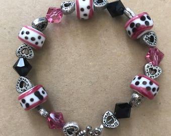 Pink and Black Swarovski and Spotted Glass Beaded Bracelet