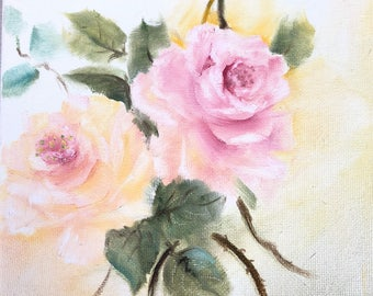 Shabby chic handpainted  pink and yellow pastel roses oil on canvas 8 x 10
