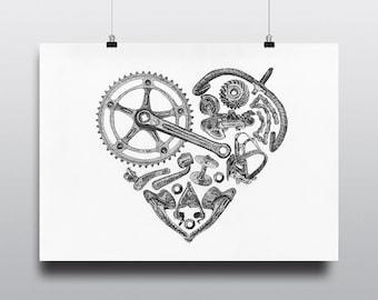 Bicycle Art Print, Bike Art Print, Vintage Campagnolo : Bicycle Love