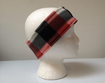 Rust plaid reversible fleece ear warmer headband, fleece headband, winter ski headband ear warmer.