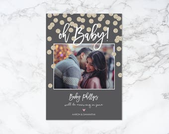 Printable Oh Baby Pregnancy Announcement Photo Card