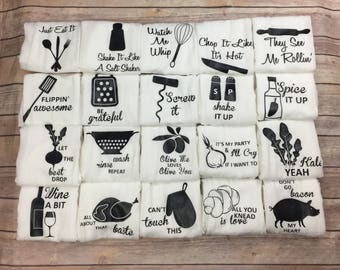 Flour Sack Towel - Housewarming Gift - Hostess Gift - Gifts for Her - Funny Kitchen Towels - Birthday Gifts for Friend
