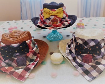 Sweet Lamb Clothing 2 Piece 'Black Straw Children's Modified Cowboy Hat' for Kids, boys, girls