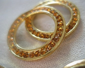 4pc Topaz Rhinestone Gold plated Connector Linking Rings, Large Circle, 27mm diameter, 2mm thick
