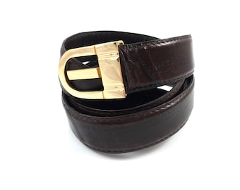 Vintage brown eel skin belt with gold buckle