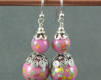 Vintage Pink Millefiori Japanese Glass Beaded Sterling Silver Earrings