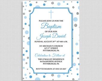 Blue Baptism Invitation, Baby Boy Baptism Invite, Blue & Silver Dots, Christian Baptism Invite, Boy Christening, DIY PRINTABLE