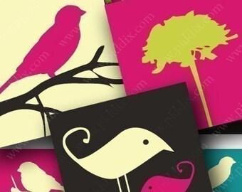 Bright Mod Birds Digital Collage Sheet .85 Inch Scrabble Tile 4x6 Inch Sampler Pink Turquoise Brown Midcentury Modern piddix 1041