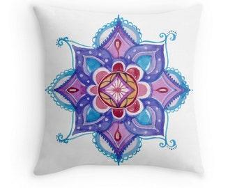 Mandala Throw Cushion Pillow Case. Watercolor Mandala. Purple and Blue.