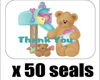 "50 Teddy Bear at Mailbox Thank You Envelope Seals / Labels / Stickers, 1"" by 1.5"""
