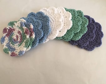 Crochet Facial Scrubbies Cotton Set of 10 Cotton Crochet Coasters  Gifts for Mom Ready to Ship