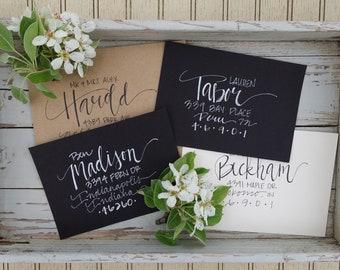 Handwritten calligraphy envelopes, custom addresses