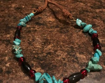Turquoise with Red glass Beads Choker