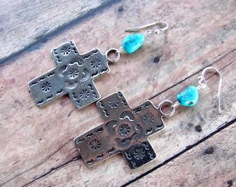 Pewter Cross Earrings, Turquoise Earrings, Cross Earrings, Southwest Earrings, Cowgirl Earrings, Western Earrings, Turquoise Jewelry, Dangle