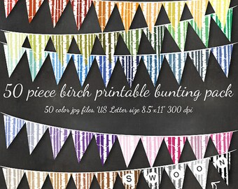 HUGE Birch Bunting - Printable Editable 51 Piece Forest Bunting Download - Classroom Party Banner Flags Birthday Wedding Holiday Custom Name