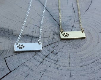 PAW Print Bar Necklace!! Animal lovers, jewelry.