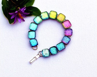 97 Fused dichroic glass bracelet, rainbow, cabochons, square