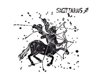 Sagittarius the Archer Constellation Linocut in Black and White - Constellations of the Zodiac Print Collection