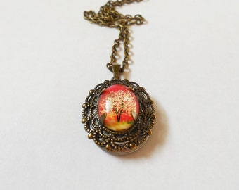 Burning Spirits --Small  Wearable Art Locket .tree necklace.tree locket..Christmas gift.Valentine's gift