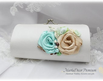 Bridal Wedding Clutch Flower Handmade Brooch Bridesmaids Purse with Handmade Flowers, Crystals, Pearls in White, Aqua Mint, Champagne