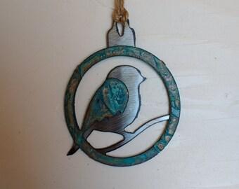Patina Fat Bird Ornament