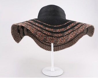 Extra Wide Brim Crocheted Straw Packable Travel Hat Anti - uv hat han version of beach hat beach hat.