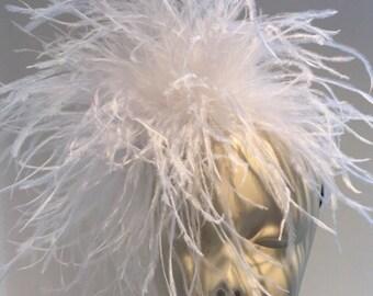 Diner en Blanc- Feather Fascinator- White Fascinator- White feather Headband- MardiGras- Derby- Flapper- Wedding- Feather hair Accessory