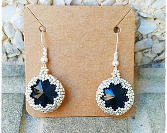 Rivoli Earrings, Elegant earrings, Wedding earrings, Braidsmaid Earrings, Beaded earrings, Gift for her, Crystal earrings, swarovski earring