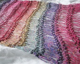 Red, Blue, Yellow & Green Hand Knitted Silk Wool Mix Drop Stitch Wraparound Shawl