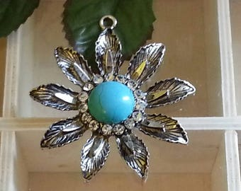 Pendant with Crystal Rhinestones, antique silver, paleturquoise 57.5x57.5x7 mm, hole: 3 mm