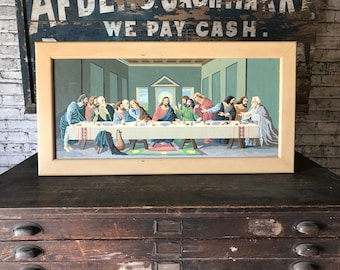 Vintage Paint By Number Last Supper Framed Painting Retro Religious Art