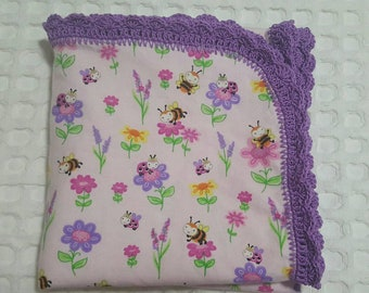 Flannelette crochet baby wrap