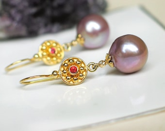 Mauve Champagne Baroque Pearl Earrings   Edison Freshwater Pearls - Red Sapphire   14k Yellow Gold - 24k Gold Vermeil   Gift   Ready to Ship