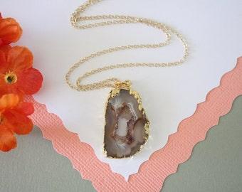 Geode Necklace, Druzy Necklace Gold, BoHo Necklace, Crystal Necklace, Geode Slice, Gold Slice Druzy,GCH31