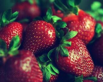 Summer Fruit Photography - Strawberries - 5x7 fine art print - strawberry fruit red green food  kitchen decor