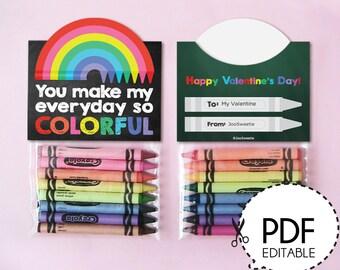 Crayon Valentines Favor Label-Printable PDF Download