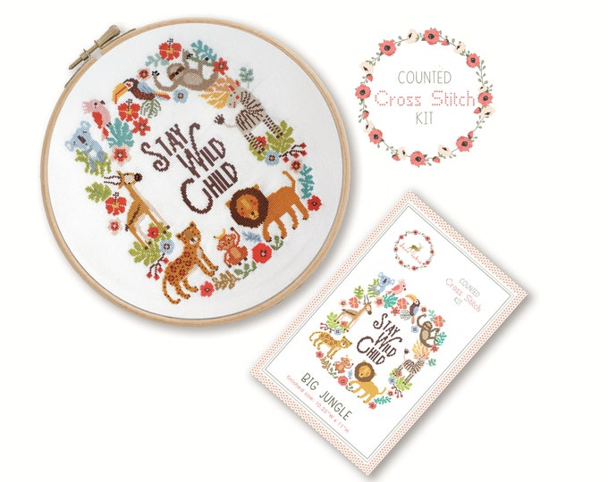 Counted Cross Stitch Kit - Big Jungle / nursery cross stitch pattern, craft kit, embroidery, gift, fun, dmc, supplies, handmade, sloth