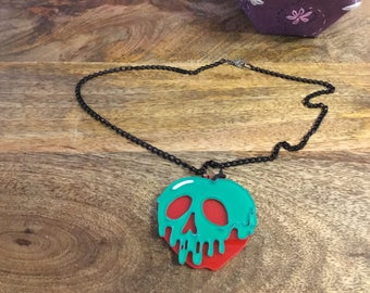 Disney inspired evil queen poison apple acrylic necklace