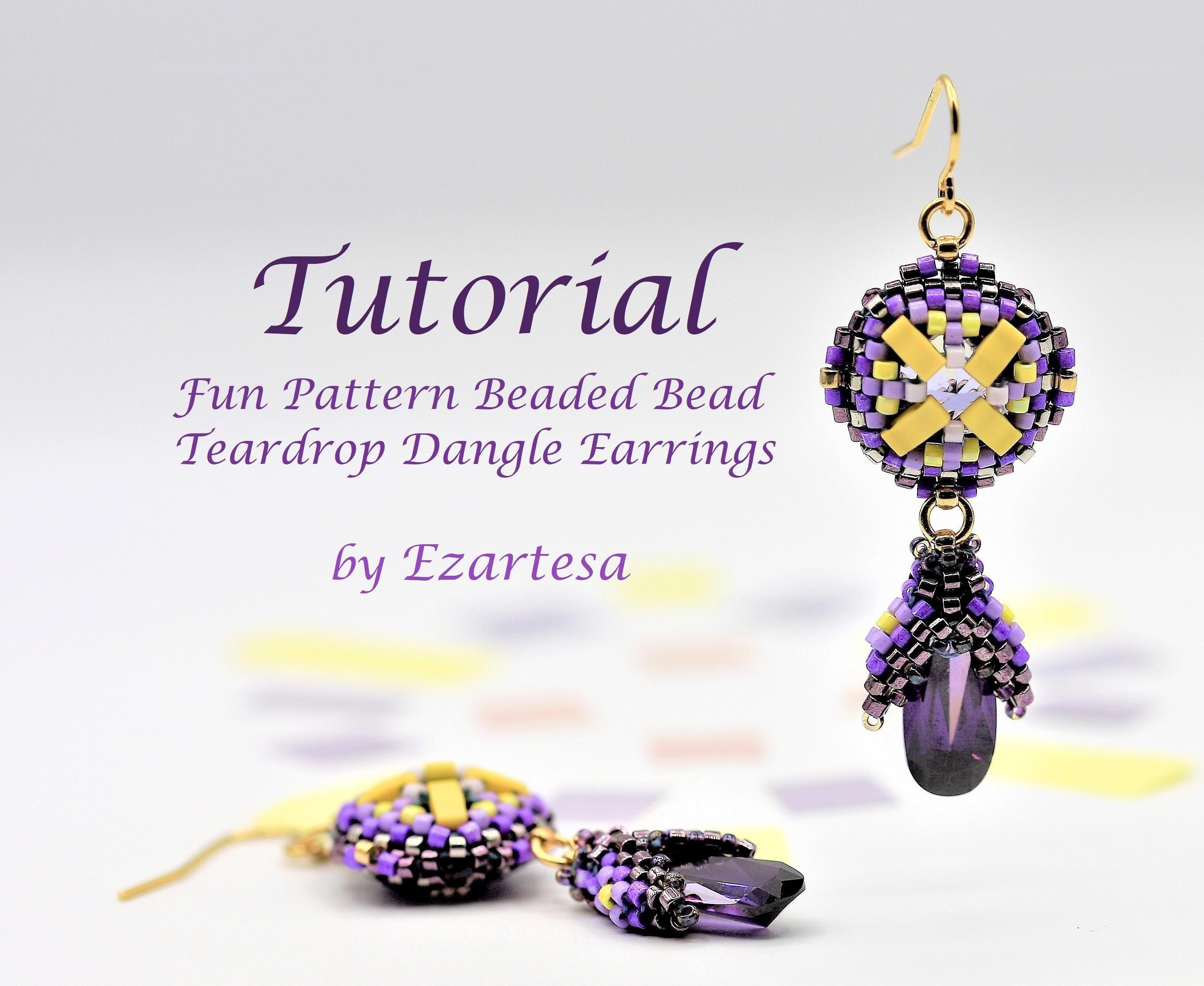 Fun Pattern Beaded Bead and Teardrop Dangle Earrings Tutorial Inspired by Aquarius Sign Birthstones and Colors, Beading Pattern by Ezartesa