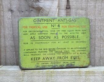 1945 Vintage Tin Ointment Anti Gas No6 Tropical Use Decontamination Vintage Medicine Tin World War II WWII Gas Mask Kit Tropical Gas Mask
