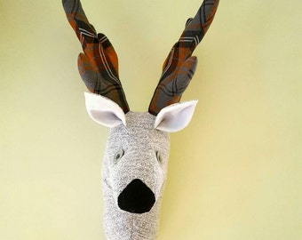 Stag wall head Reindeer faux taxidermy Deer trophy head stag tartan wall hanging Housewarming gift Quirky home decor Fabric stags head gift