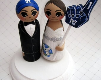 Wedding Cake Topper / Sports Fan / Bride / Groom / Custom Painted Wood Peg Dolls with Base and Gear