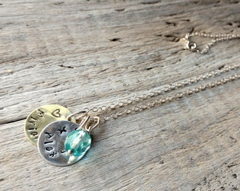 Personalized Sterling Silver Pendant Necklace, with silver and brass charms, Czech glass bead