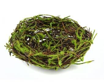 """Miniature Fairy Garden Dollhouse Vine and Moss Nest - 6"""" diameter x 1.25"""" tall"""