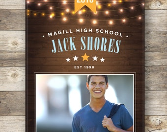Graduation Announcement with Lights — Middle School, High School or College Graduates —Pick your background color — DIY, print at home.