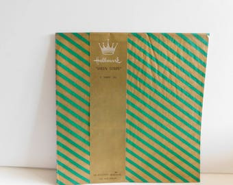 Vintage Hallmark Gift Wrap Green and Gold Stripe Sheen Gift Wrap, Beautiful Christmas Gift Wrap, Hallmark Christmas Wrap, Sheen Stripe Wrap