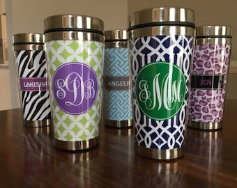 Personalized Monogrammed Travel Mug Tumbler - Preppy Gift - Stainless Steel - Coffee