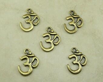 5 Large TierraCast Om Ohm Aum Pendant Charms > Mantra Vedas Meditation Yoga - Brass Ox Plated Lead Free Pewter - I ship Internationally 2297