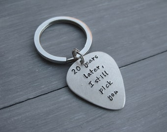 Anniversary Guitar Pick Key Chain Sterling Silver Double Sided 20 Years 20th Anniversary 30th 40th 50th Anniversary Gift
