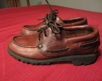 Boy's SEBAGO shoes Size 3 dark brown Leather Docksides style Casual Dress docksiders kids FREE SHIPPING